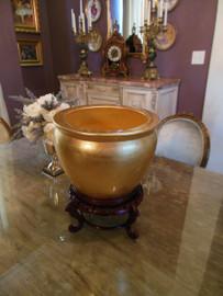 Porcelain Fishbowl size 12, Fret Wood Stand   Cache Pot,   Planter,   Flower Pot   Polished Gold Leaf Effect   9tX12dia.   6598