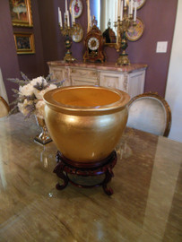 #Porcelain Fish Bowl | Fishbowl size 12, Fret Wood Stand | Cache Pot, | Planter, | Flower Pot | Polished Gold Leaf Effect | 9tX12dia. | 6598