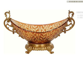 Luxe Life Finely Finished Cut Crystal Glass and Gilt Bronze Ormolu, 12 Inch Centerpiece Bowl