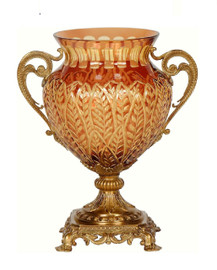 Luxe Life Finely Finished Cut Crystal Glass and Parcel Gilt Bronze Ormolu, 14 Inch Tabletop Vase