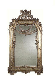 "Luxe Life Louis Seize French Neo Classical Period Louis XVI - 63"" Handcrafted Reproduction Versailles Bevel Glass Mirror - Antiqued Silver Finish, 6546"