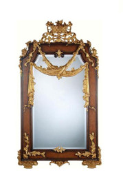 "Luxe Life Louis Seize French Neo Classical Period Louis XVI - 63"" Handcrafted Reproduction Versailles Bevel Glass Mirror - Wood Tone Finish and Gold, 6545"
