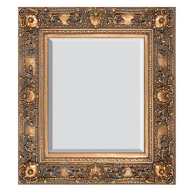"""French Rococo Louis XV Beveled Edge Antique Gold Extra Large Mirror - Scalloped Shell and Floral, 60""""t x 48""""w - Wide 6"""" Carved Frame, 6719"""