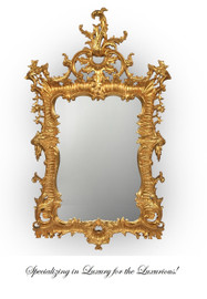"""Opulent Chinese Chippendale - Traditional Gold, Extra Large Mirror - 65""""t x 40""""w x 1.75""""d - Carved Frame, 6721"""