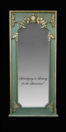 """French Style Louis XIV Painted and Gilt Trumeau, Pier, Floor, Oversize Dressing Mirror - Palace size Mirror - 8't x 3'9""""w x 3.5""""d - Carved Frame, 6722"""