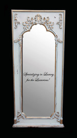 """French Style Louis XIV Painted and Gilt Trumeau, Pier, Floor, Oversize Dressing Mirror - Palace size Mirror - 8't x 3'9""""w x 3.5""""d - Carved Frame, 6723"""
