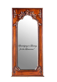 "French Style Louis XIV Wood Stain and Gold Trumeau, Pier, Floor, Oversize Dressing Mirror - Palace size Mirror - 8't x 3'9""w x 3.5""d - Carved Frame, 6725"