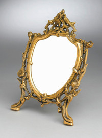 """Classic Floral Vine - 13"""" Shield Shape Vanity, Dressing Table Mirror - Antique Brass Finish, 6726"""