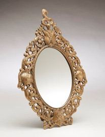 """Coat of Arms - 16"""" Oval Shaped Vanity, Dressing Table Mirror - Antique Brass Finish, 6727"""