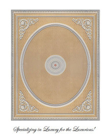 """Architectural Accents Damask Pattern, 6729 Classical Theme Rectangular Ceiling Medallion, 10'L X 8'w X 3.5"""" Thick"""