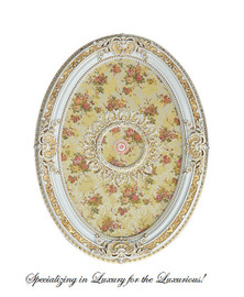 """Architectural Accents Beautiful Floral Pattern, 6731 Oval Ceiling Medallion, 3'7.25""""L X 2'7.5""""w X 3.5"""" Thick"""