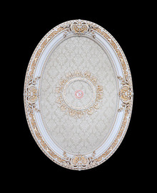 """Architectural Accents Classic Damask Shell Pattern, 6732 Oval Ceiling Medallion, 3'7.25""""L X 2'7.5""""w X 3.5"""" Thick"""