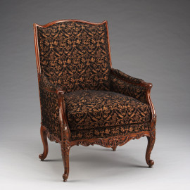 #Louis Ferdinand French Rococo Period Louis XV - 41 Inch Handcrafted Reproduction Versailles Bergere Arm Chair - Upholstery 034b - Wood Tone Luxurie Furniture Finish MLSC