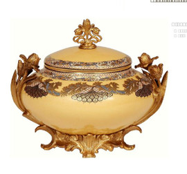 Luxe Life Finely Finished Hand Painted Glass and Gilt Bronze Ormolu, 10 Inch Round Decorative Box 6537 ME - Hand Painted Glass Decorative Box