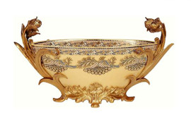 Luxe Life Finely Finished Hand Painted Glass and Gilt Bronze Ormolu, 13 Inch Centerpiece | Decorative Bowl