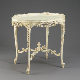 Louis Quinze French Rococo Period Louis XV - 32 Inch Handcrafted Reproduction Versailles Entry | Oval Raised Gallery Center Table - Painted White Luxurie Furniture Finish PWH