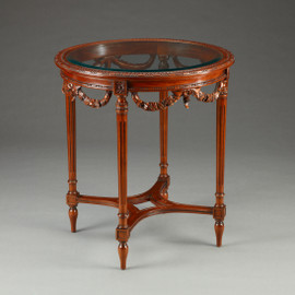 Louis Charles French Neo Classical Period Louis XVI - 27.5 Inch Handcrafted Reproduction Versailles Entry | Round Bevel Glass Center Table - Wood Tone Luxurie Furniture Finish MLSC
