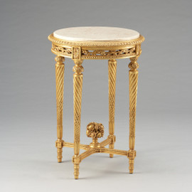 Louis Charles French Neo Classical Period Louis XVI - 31 Inch Handcrafted Reproduction Versailles End | Side | Round Cream Marble Lamp Table - Gold Metallic Luxurie Furniture Finish FGILT