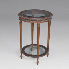 #Marie Therese Charlotte French Neo Classical Period Louis XVI - 30 Inch Handcrafted Reproduction Versailles End | Side | Round Bevel Glass Lamp Table - Wood Tone Luxurie Furniture Finish M