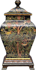 Luxe Life Exquisite Nature Pattern, Hand Painted Porcelain and Gilt Bronze Ormolu, 22 Inch Covered Jar