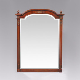 """The Queen of France Marie Antoinette - French Neo Classical Period Louis XVI - 37"""" Handcrafted Reproduction Versailles Bevel Glass Wall Mirror - Wood Tone Luxurie Furniture Finish NWND, 6491"""