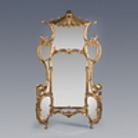 """#Chinese Chippendale - 86"""" Handcrafted Reproduction Palace Size Pagoda Mirror - Metallic Gold Luxurie Furniture Finish NF9, 6489"""