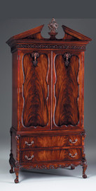 #Chippendale English Bedroom - 84.5 Inch Handcrafted Reproduction Armoire - Mahogany Luxurie Furniture Finish M