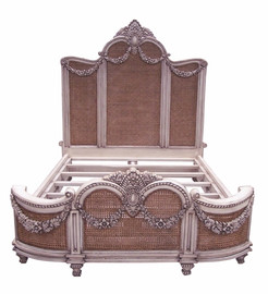 Custom Decorator - Hardwood Hand Carved and Cane Guirlande de Butin - Neo Classical 77 Inch Queen Size Bed - Painted or Wood Stain Finish