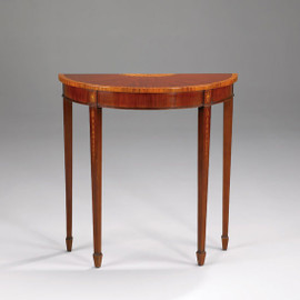 A Georgian English Hepplewhite Period - 32 Inch Handcrafted Reproduction Mahogany and Satinwood Demilune Entry Table Console - Mahogany Luxurie Furniture Finish M