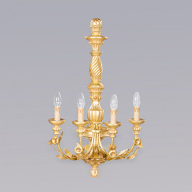 A Wooden Ornamental 4 light - 31 Inch Handcrafted Reproduction Wall Bracket Sconce - Metallic Luxurie Furniture Finish Gold FGILT