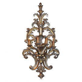 #An Acanthus Wooden Ornamental 4 light - 38 Inch Handcrafted Reproduction Wall Bracket Sconce - Metallic Luxurie Furniture Finish NF15