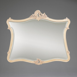 """#The Queen of Versailles Marie Leszezynska - French Rococo Period Louis XV - 57.5"""" Handcrafted Reproduction Bevel Glass Dresser Mirror - Painted White Luxurie Furniture Finish PWH, 6433"""