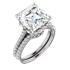 4.50 Ct. Asscher Shape Benzgem: Best G-H-I-J Diamond Quality Imitation: GuyDesign® Louis XIV Baroque Scroll Engagement Ring: Natural Pavé Diamonds Custom 18 Karat White Gold Jewelry, 6606