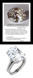 9.32Ct. Oval Shape Benzgem: Best G-H-I-J Diamond Quality Imitation: GuyDesign® Louis XIV Baroque Scroll Engagement Ring: Natural Pavé Diamonds Custom 18 Karat White Gold Jewelry, 6613