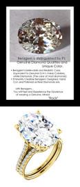 9.32Ct. Oval Shape Benzgem: Best G-H-I-J Diamond Quality Imitation: GuyDesign® Louis XIV Baroque Scroll Engagement Ring: Natural Pavé Diamonds Custom 18 Karat Yellow Gold Jewelry, 6618