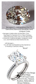 5.05 Benzgem by GuyDesign® Luxury 05.05 Carat Oval Shape Fantasy Diamond with Natural Diamond Semi-Mount, Near Colorless, White, Faintest Yellow Tint, G-H-I-J, Best Faux Diamond, Contemporary Elegance Engagement Ring, Platinum, 6634