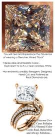 3.81 Benzgem by GuyDesign® Luxury 3.81 Carat Princess Cut Fantasy Diamond Natural Diamond Semi-Mount, White, Faintest Yellow Tint, G-H-I-J, Best Artificial Diamond, Classic Bypass Solitaire Engagement Ring, 18 Karat Rose Gold, 6636