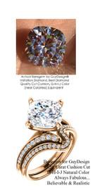 3.50 Benzgem by GuyDesign® Luxury 03.50 Carat Cushion Cut Fantasy Diamond Natural Diamond Semi-Mount, White, Faintest Yellow Tint, G-H-I-J, Best Artificial Diamond, Classic Bypass Solitaire Engagement Ring, 18 Karat Rose Gold, 6642