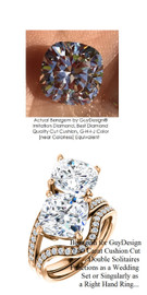 7.00 Benzgem by GuyDesign® White, Faintest Yellow Tint, G-H-I-J, Best Artificial Diamond, Classic Bypass Double Solitaire Engagement Ring, 07.00 Carat Square Cushion Cut Fantasy Diamonds Natural Diamond Semi-Mount, 18 Karat Rose Gold, 6648 Engagement