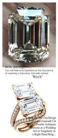 7.58 Benzgem by GuyDesign® G-H-I-J, World's Most Perfect artificial Diamond, ersatz Diamond, 07.58 Carat Krupp Cut - Emerald Shape, Fantasy Diamond with Natural Diamond Semi-Mount, Classic Bypass Double Solitaire Ring, 18 Karat Rose Gold, 6649 Engage