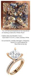 3.81 Benzgem by GuyDesign® White, Faintest Yellow Tint, G-H-I-J, Best Artificial Diamond, Luxurious 04.12 Carat Quadrillion, Princess Cut, Fantasy Diamond with Natural Diamond Semi-Mount, Contemporary Elegance Engagement Ring, 18 Karat Rose Gold, |