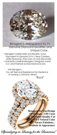 3 Carat, Luxury Oval Cut Benzgem Solitaire, Benzgem Diamond Quality Color and Cut matches believably the Natural 32 Diamond Semi-Mount; GuyDesign® Halo Design Engagement or Right Hand Ring, 18k Rose Gold, 6661,