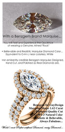 1.59 Carat, Luxury Marquise Cut Benzgem Solitaire, Benzgem Diamond Quality Color and Cut matches believably the Natural 34 Diamond Semi-Mount; GuyDesign® Halo Design Engagement or Right Hand Ring, 18k Rose Gold, 6666,