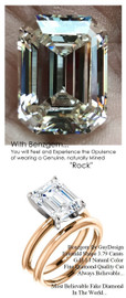 3.95 Benzgem by GuyDesign® G-H-I-J Natural Color, Most Believable fake Diamond in the World, Luxurious 03.79 Carat Emerald Cut Dream Diamond, Classic Tiffany Solitaire Engagement Ring, 18 Karat Rose & White Gold, 6682