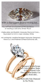 1.59 Benzgem by GuyDesign®, Most Believable fake Diamond in the World, 01.62 Carat Marquise Cut Dream Diamond, Classic Tiffany Solitaire Engagement Ring, 18 Karat Rose & White Gold, 6684