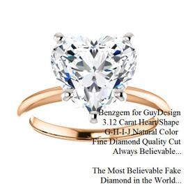 3.12 Benzgem by GuyDesign®, Most Believable fake Diamond in the World, 03.12 Carat Heart Shape Fantasy Diamond, Classic Tiffany Solitaire Engagement Ring, 18 Karat Rose & White Gold, 6685