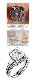 3.79 Benzgem by GuyDesign® · Most Believable fake Diamond in the World · 03.79 Carat Cushion Cut-Shape Fantasy Diamond, VS Clarity · Twin Baguette and Round Accent Solitaire Ring, Platinum, 6688