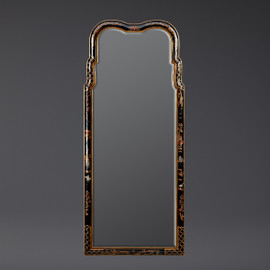 """A Chinoiserie Chinese Style - 48"""" Handcrafted Handpainted Beveled Glass Wall Mirror - Luxurie Furniture Finish Ebony Black EBN with Gold Trim, 6424"""