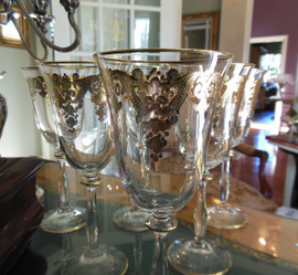 A Lyvrich - Clear Crystal Water Stem Glass - Golden Fleur de Lis - 8.25t X 3.5dia 7139.012GWC Lyvrich CT - Set of Six 24 Karat