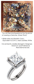 3.81 Carat, Luxury Princess Cut Benzgem Solitaire, Benzgem Diamond Quality Color and Cut matches believably the Natural 52 Diamond Semi-Mount; GuyDesign® Halo Design Engagement or Right Hand Ring, Platinum, 6695,
